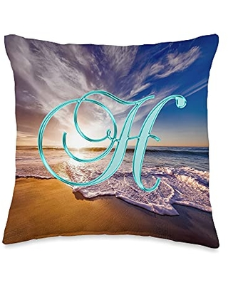 401Merch Monograms H Teal Beach Ocean Sunset Sand Wave Initial Letter Name Throw Pillow, 16x16, Multicolor