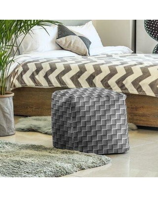 East Urban Home Classic Basketweave Stripes Cube Ottoman W001706106 Upholstery Color: Black/Gray