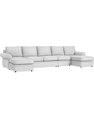 Pearce Roll Arm Upholstered 4-Piece Double Chaise Sectional, Down Blend Wrapped Cushions, Performance Twill Warm White