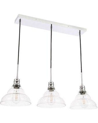 Check Out These Bargains On Wrought Studio Shunk 3 Light Kitchen Island Linear Pendant With Glass Accents X112486580 Finish Chrome