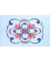"Bungalow Rose Souihla Too Geometric Print Throw Blanket BNGL6467 Size: 60"" L x 50"" W, Color: Faded Glory (Light Blue/Royal Blue)"