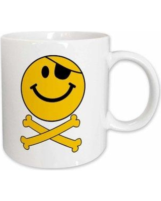 East Urban Home Pirate Smiley Face Happy Jolly Roger Crossbones with Eye Patch Coffee Mug W000935208