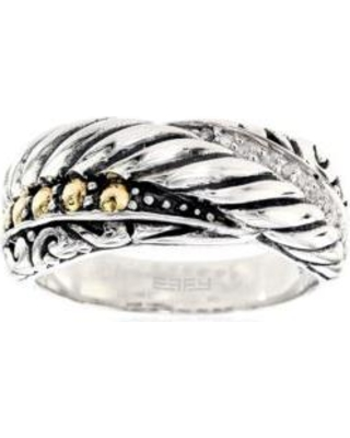 Effy Silver/Gold 0.05 Diamond Ring in Sterling Silver & 18K Yellow Gold