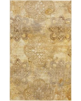 Mohawk Home Prismatic Hastings Distressed Medallion Rug, Beig/Green, 5X8 Ft