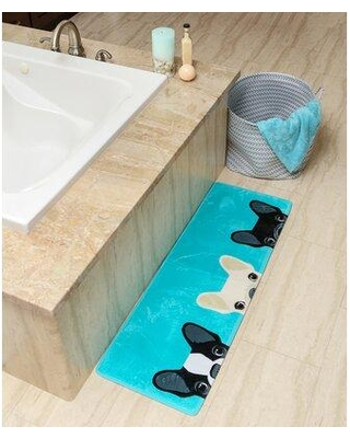 New Deal For Winston Porter Vika Frenchie Peeking Long Rectangle Non Slip Does Not Apply Bath Rug Polyester In Blue Size 46 H X 16 W Wayfair