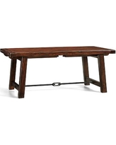 """Benchwright Extending Rectangular Dining Table, 74 x 40"""", Rustic Mahogany stain"""