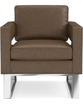 Minato Occasional Chair, Standard Cushion, Italian Distressed Leather, Toffee, Polished Nickel