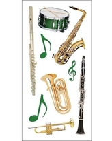 Paper House Productions ST-2235E Photo Real Stickypix Stickers, 2-Inch by 4-Inch, School Band (6-Pack)