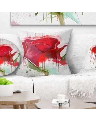 """East Urban Home Floral Colorful Rose Sketch Watercolor Pillow FUSI4146 Size: 16"""" x 16"""" Product Type: Throw Pillow"""
