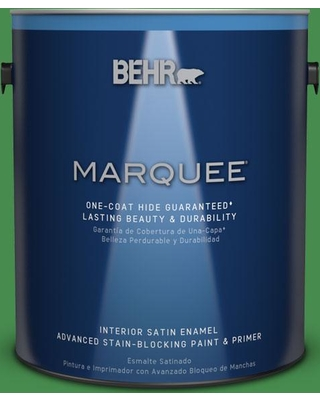 BEHR MARQUEE 1 gal. #MQ4-48 Planet Green One-Coat Hide Satin Enamel Interior Paint and Primer in One