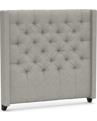 Harper Upholstered Tufted Tall Headboard with Pewter Nailheads, Queen, Premium Performance Basketweave Light Gray