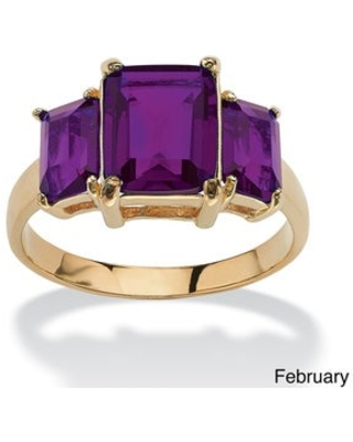 Emerald-Cut Triple Birthstone Gold-Plated Ring (February - 8)