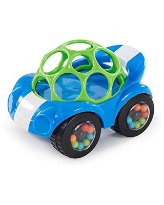 Bright Starts Oball Rattle & Roll Sports Race Car Toy Push and Go Vehicle, Easy Grasp, Ages 3 Months +, Blue