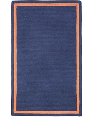 Capel Chenille Rug 5 ' x 8 ' Rectangle, Dark Navy with Orange