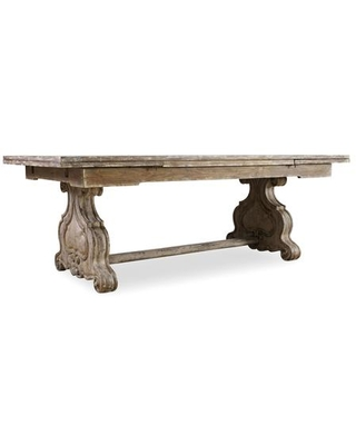 """Chatelet Collection 5350-75206 82"""" Refectory Rectangle Trestle Dining Table with Two 22"""" Leaves in Distressed Vintage"""