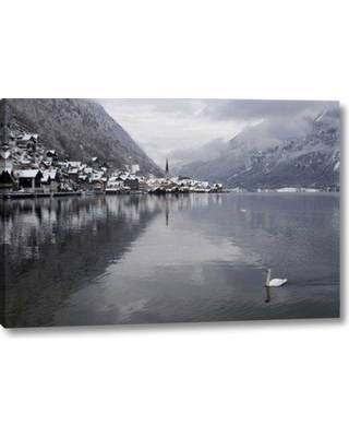 "World Menagerie 'Austria Hallstatt Swan on Lake Hallstatt' Graphic Art Print on Wrapped Canvas BF155872 Size: 16"" H x 24"" W x 1.5"" D"