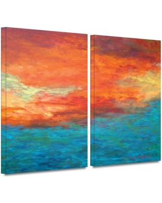 """Wade Logan 'Lake Reflections II' 2 Piece Painting Print on Wrapped Canvas Set WDLN2732 Size: 24"""" H x 36"""" W x 2"""" D"""