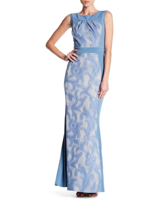 Sangria - DWHGC93 Sleeveless Lace Panel Gown
