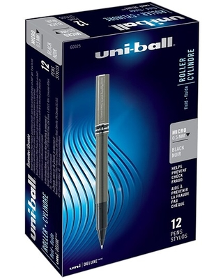 uni-ball Deluxe Rollerball Pens, Micro Point, Black Ink, 12/Pack (60025) | Quill