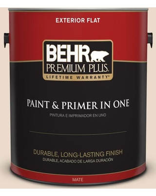 BEHR Premium Plus 1 gal. #BWC-22 Lambskin Flat Exterior Paint and Primer in One