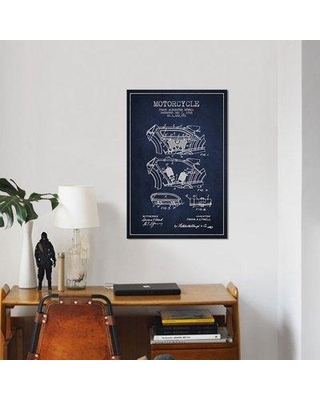 """East Urban Home 'Frank A. Etwell Motorcycle Patent Sketch' Graphic Art Print on Canvas in Navy Blue ERBR0081 Size: 26"""" H x 18"""" W x 0.75"""" D"""