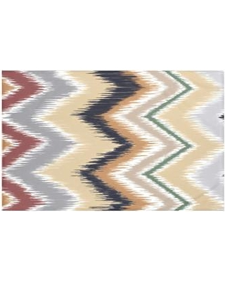 "e by design Ikat-arina Chevron Print Throw Blanket HSN142 Size: 60"" L x 50"" W Color: Khaki (Navy Blue/Taupe)"