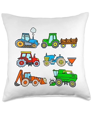 Tractor Designs for Toddler Boys Boys Girls Farm Tractors Throw Pillow, 18x18, Multicolor