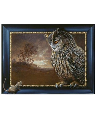"""Trademark Fine Art 'Eagle Owl and Mouse' Acrylic Painting Print on Wrapped Canvas ALI35682-CGG Size: 24"""" H x 32"""" W x 2"""" D"""