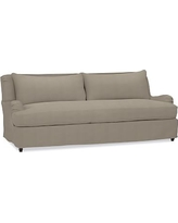 "Carlisle Slipcovered Sofa 80"" with Bench Cushion, Down Blend Wrapped Cushions, Performance Everydayvelvet(TM) Carbon"