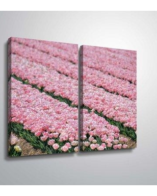 """Winston Porter 'Pink Tulip Field' Photographic Print Multi-Piece Image on Canvas BI207810 Size: 32"""" H x 48"""" W x 2"""" D Format: Wrapped Canvas"""
