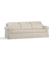 "York Roll Arm Slipcovered Deep Seat Grand Sofa 98"" with Bench Cushion, Down Blend Wrapped Cushions, Twill Cream"