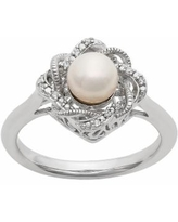 Simply Vera Vera Wang Freshwater Cultured Pearl & Diamond Accent Sterling Silver Twist Ring, Women's, Size: 9, White