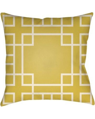 """Bay Isle Home Fareham Indoor/Outdoor Throw Pillow BYIL3073 Size: 20"""" H x 20"""" W Color: Bright Yellow/Ivory"""