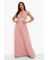 Womens Lace Detail Wrap Pleated Maxi Dress - Pink - 6