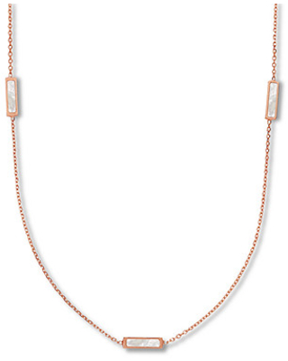 Jared The Galleria Of Jewelry Mother-of-Pearl Station Necklace 14K Rose Gold