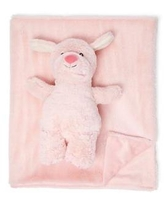 Jesse & Lulu Lt Pastel Brown Baby Plush Blanket with Matching Toy