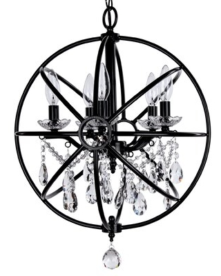 Benton 5 - Light Candle Style Globe Chandelier with Crystal Accents