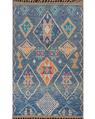 """Geometric Tribal Oriental Moroccan Area Rug Hand-knotted Wool Carpet - 5'11"""" x 9'11"""""""