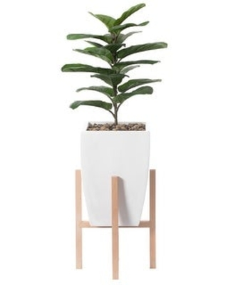 Green Indoor Decorative Square Planter With Wooden Stand (White)