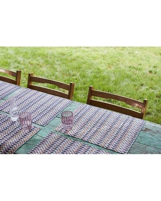 """Chilewich Heddle Parade 19"""" Table Placemat 100525-00 Color: Blue/Gray"""