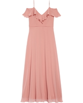 Girl's Dessy Collection Cold Shoulder Chiffon Flower Girl Dress, Size 6 - Pink