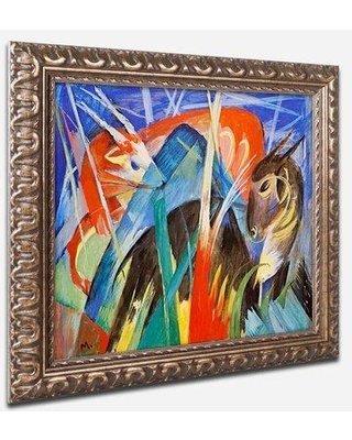 "Trademark Fine Art ""Fairy Animals 1913"" by Franz Marc Framed Painting Print BL01208-P-G1114F / BL01208-P-G1620F Size: 11"" H x 14"" W x 0.5"" D"