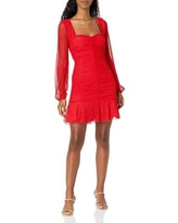 Anne Long Sleeve Sweetheart Ruched Bodycon Mini Dress - Red - 4si3nna Dresses