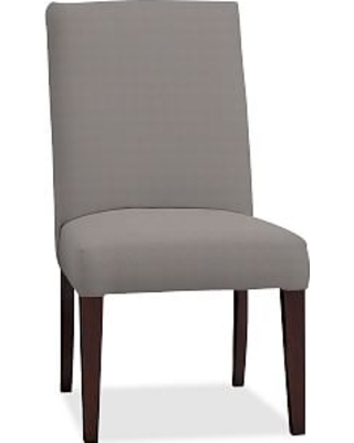 PB Comfort Square Upholstered Dining Side Chair, Performance Twill Metal Grey