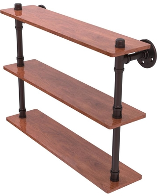 Allied Brass Pipeline Collection 22 in. Ironwood Triple Shelf in Antique Bronze
