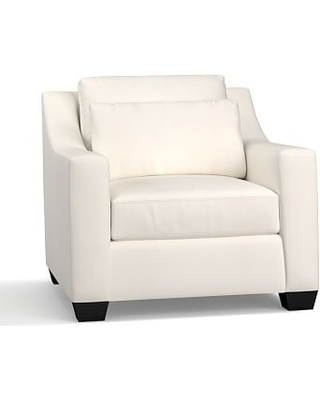 York Slope Arm Upholstered Deep Seat Armchair, Down Blend Wrapped Cushions, Denim Warm White