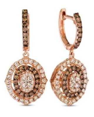 Le Vian Strawberry Gold Creme Brulee 1 ct. t.w. Nude Diamonds™, 3/4 ct. t.w. Chocolate Diamonds Earrings in 14k Strawberry Gold