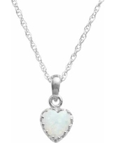 """Tiara Sterling Silver Lab-Created Opal Heart Crown Pendant, Women's, Size: 18"", White"""