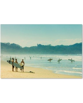 "Trademark Fine Art 'Surfing 2' Graphic Art Print on Wrapped Canvas ALI18644-C Size: 16"" H x 24"" W"