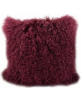"Trophy Room Stuff Tibetan Lamb Fur Throw Pillow BSTR1034 Color: Cabernet Size: 20"" x 20"" x 5"""